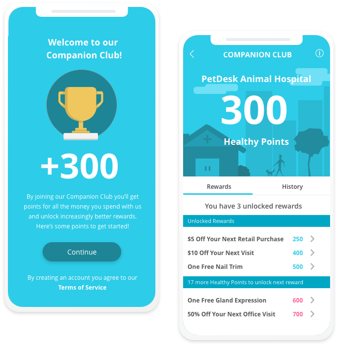 Graphic of two mobile phones showing PetDesk customizable client loyalty plan.
