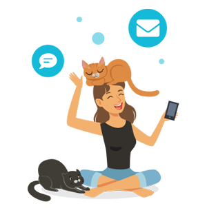 Illustration of lady with cat on her head and communication bubbles floating.